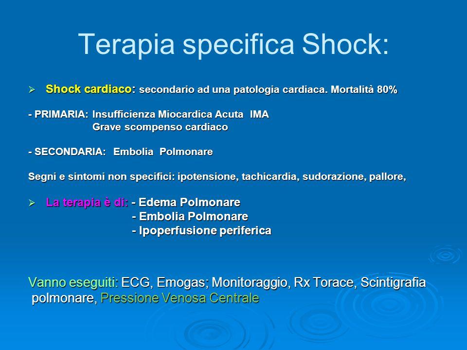 Terapia specifica Shock:  Shock cardiaco: secondario ad una patologia cardiaca. Mortalità 80% - PRIMARIA: Insufficienza Miocardica Acuta IMA Grave sc
