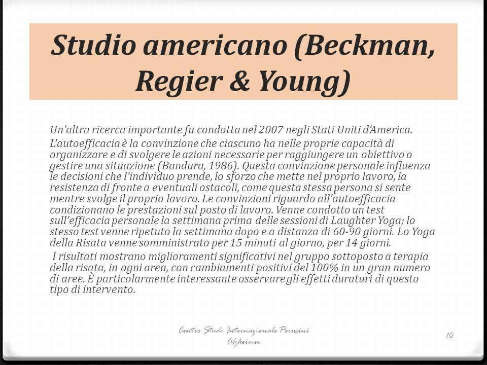 Studio americano (Beckman, Regier & Young) Un'altra ricerca importante fu condotta nel 2007 negli Stati Uniti d'America. L'autoefficacia è la convinzi