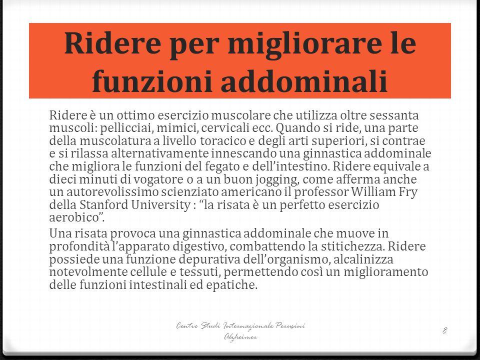 Ridere per migliorare le funzioni addominali Ridere è un ottimo esercizio muscolare che utilizza oltre sessanta muscoli: pellicciai, mimici, cervicali