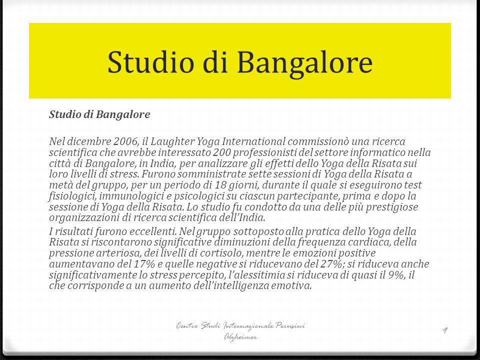 Studio di Bangalore Nel dicembre 2006, il Laughter Yoga International commissionò una ricerca scientifica che avrebbe interessato 200 professionisti d