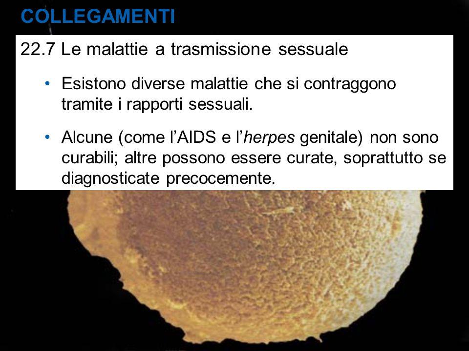COLLEGAMENTI 22.7 Le malattie a trasmissione sessuale Esistono diverse malattie che si contraggono tramite i rapporti sessuali. Alcune (come l'AIDS e