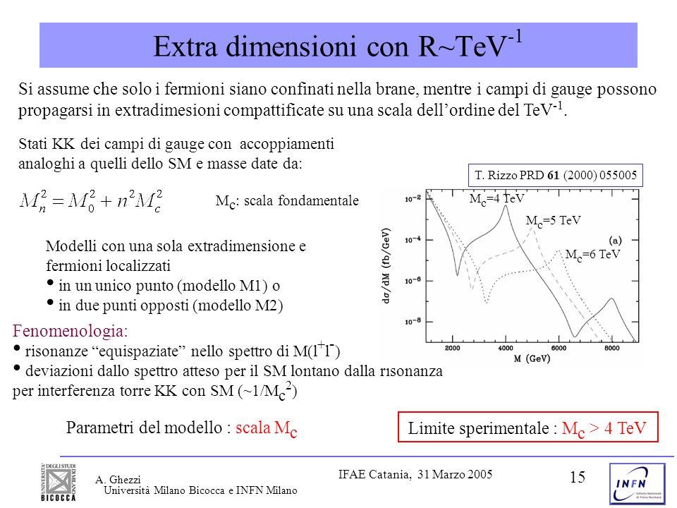 Università Milano Bicocca e INFN Milano IFAE Catania, 31 Marzo 2005 A. Ghezzi 15 Extra dimensioni con R~TeV -1 Si assume che solo i fermioni siano con