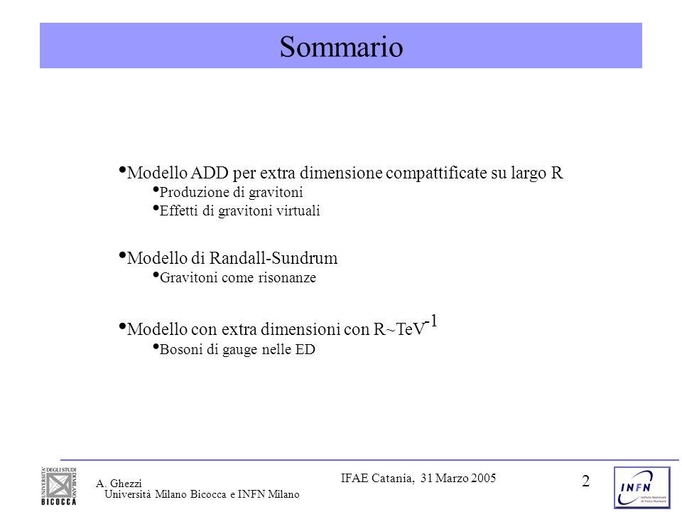 IFAE Catania, 31 Marzo 2005 A. Ghezzi 2 Sommario Modello ADD per extra dimensione compattificate su largo R Produzione di gravitoni Effetti di gravito