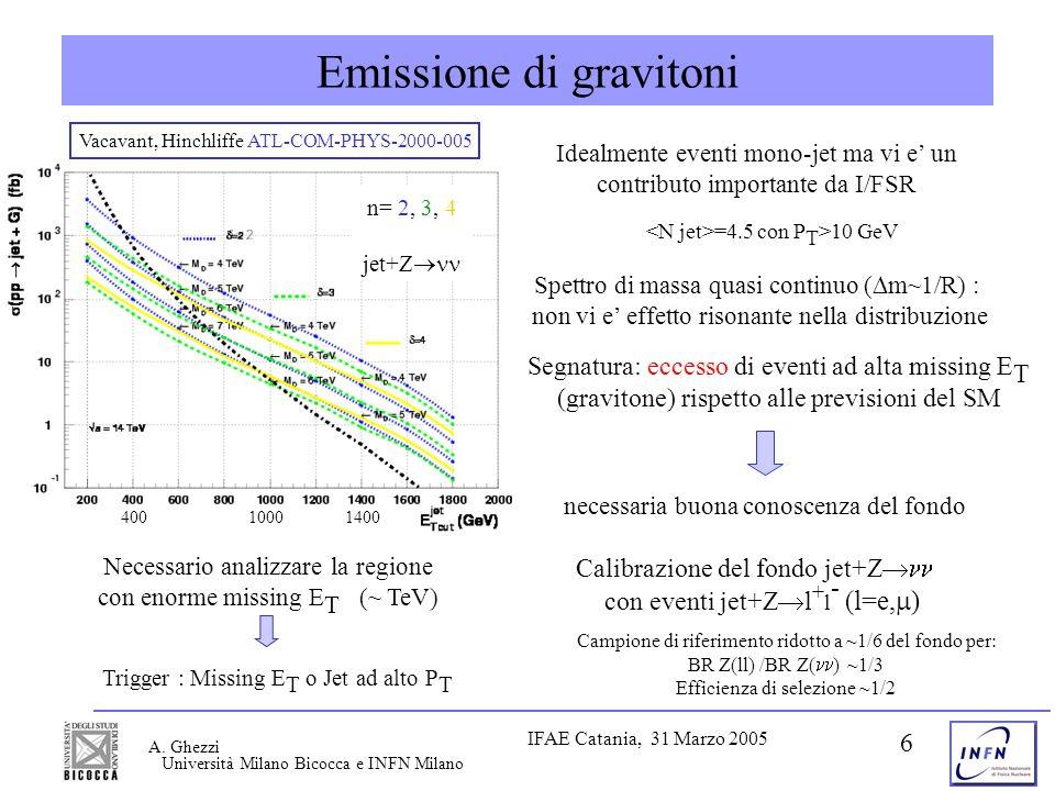 Università Milano Bicocca e INFN Milano IFAE Catania, 31 Marzo 2005 A. Ghezzi 6 Emissione di gravitoni Necessario analizzare la regione con enorme mis