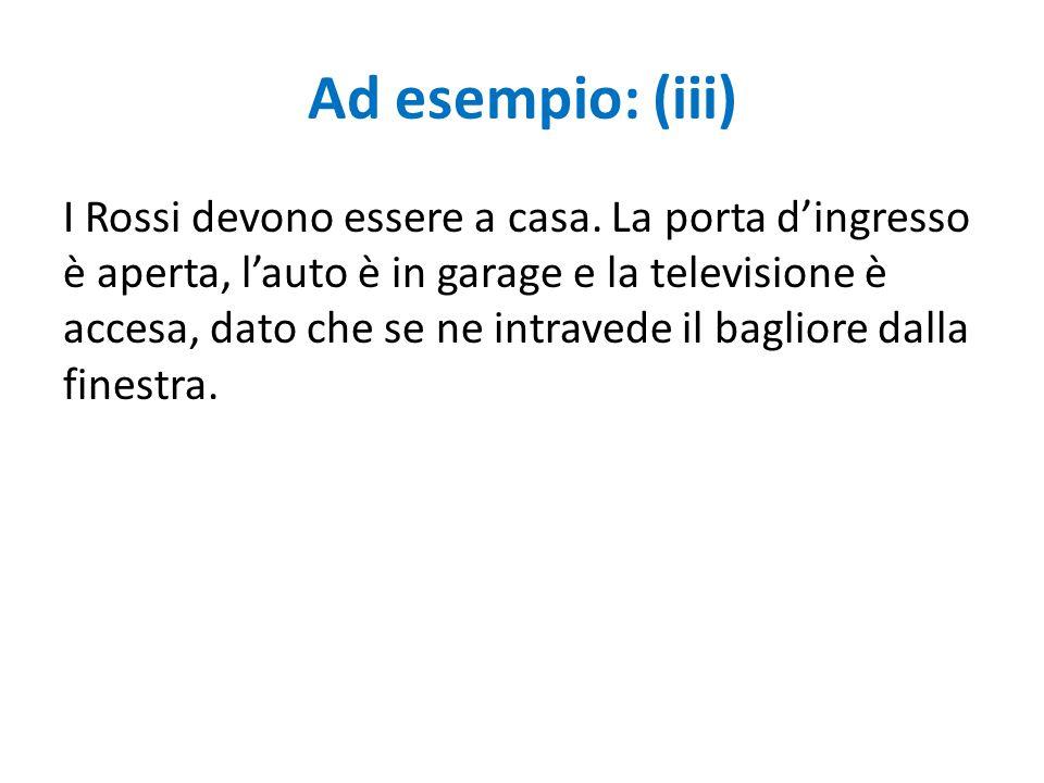 Ad esempio: (iii) I Rossi devono essere a casa. La porta d'ingresso è aperta, l'auto è in garage e la televisione è accesa, dato che se ne intravede i