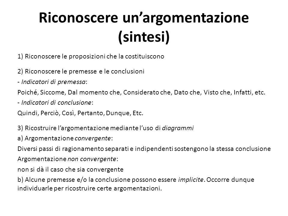 Riconoscere un'argomentazione (sintesi) 1) Riconoscere le proposizioni che la costituiscono 2) Riconoscere le premesse e le conclusioni - Indicatori d