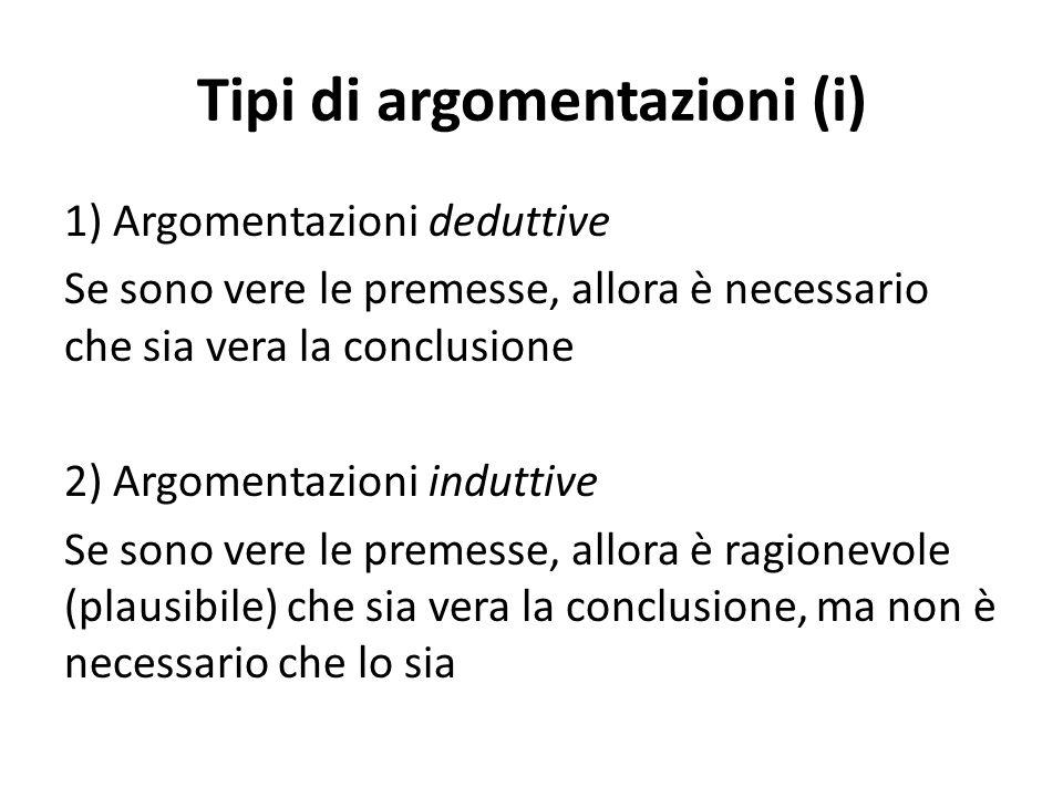 Tipi di argomentazioni (ii) 1) Semplici Non vi sono conclusioni intermedie, che fungono da premesse per ulteriori conclusioni 2) Complesse Vi sono conclusioni intermedie, che fungono da premesse per ulteriori conclusioni (sono cioè premesse derivate, a differenza delle premesse non giustificate all'interno dell'argomentazione, che sono assunzioni)