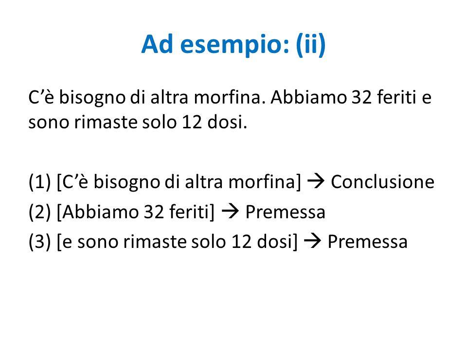 Riconoscere un'argomentazione (ii) 3) Ricostruire l'argomentazione mediante l'uso di diagrammi Ad esempio: (ii) (1) [C'è bisogno di altra morfina]  Conclusione (2) [Abbiamo 32 feriti]  Premessa (3) [e sono rimaste solo 12 dosi]  Premessa 2 + 3 1