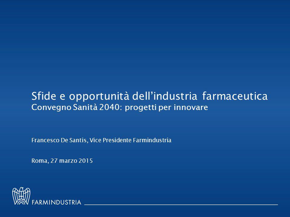 Sfide e opportunità dell'industria farmaceutica Convegno Sanità 2040: progetti per innovare Roma, 27 marzo 2015 Francesco De Santis, Vice Presidente F