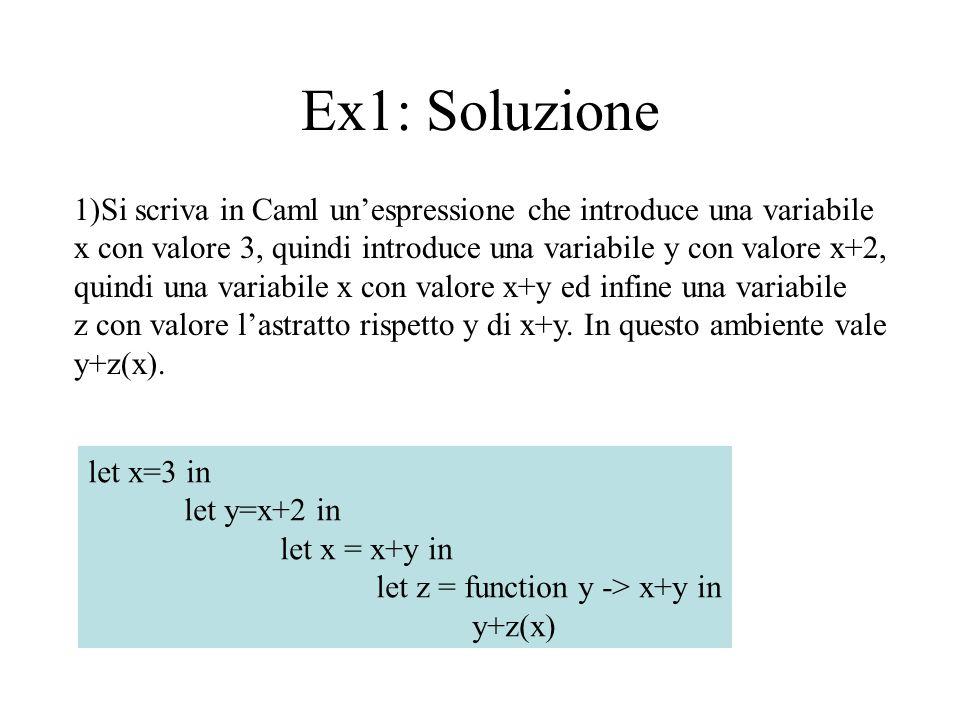 Ex2: Soluzione 2)Utilizzando il linuaggio didattico funzionale puro si mostri la sintassi astratta definita dalla esperssione del punto 1.
