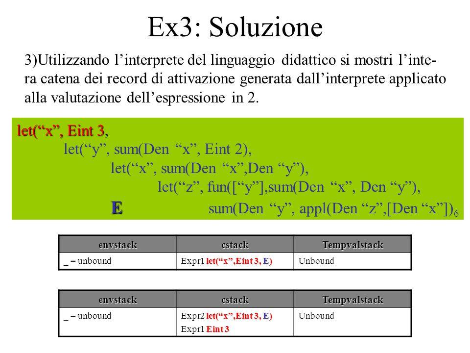 Ex3: Soluzione - continua let( x , Eint 3 let( x , Eint 3, let( y , sum(Den x , Eint 2), let( x , sum(Den x ,Den y ), let( z , fun([ y ],sum(Den x , Den y ), E E sum(Den y , appl(Den z ,[Den x ]) 6 envstackcstackTempvalstack _ = unbound let( x ,Eint 3, E) Expr2 let( x ,Eint 3, E) Eint 3 Expr1 Eint 3 Unbound envstackcstackTempvalstack _ = unbound let( x ,Eint 3, E) Expr2 let( x ,Eint 3, E) Eint 3 Expr2 Eint 3 Unbound envstackcstackTempvalstack _ = unbound let( x ,Eint 3, E) Expr2 let( x ,Eint 3, E)Unbound Int(3)