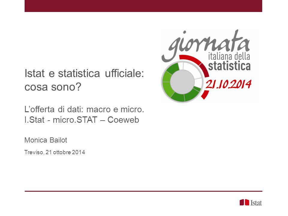 Il sistema statistico europeo (ESS) Istat e statistica ufficiale, Monica Bailot – Treviso, 21 ottobre 2014 http://epp.eurostat.ec.europa.eu/portal/page/portal/pgp_ess/ess/ess_news è costituito dall'autorità statistica comunitaria – Eurostat, dagli Istituti nazionali di statistica e dalle altre autorità nazionali preposte in ciascuno Stato membro allo sviluppo, alla produzione e alla diffusione delle statistiche europee redige un Programma Statistico Europeo garantisce che le statistiche europee prodotte in tutti gli Stati membri dell Unione europea siano affidabili e seguano criteri e definizioni comuni, in modo che le informazioni siano sempre comparabili tra i diversi paesi della UE