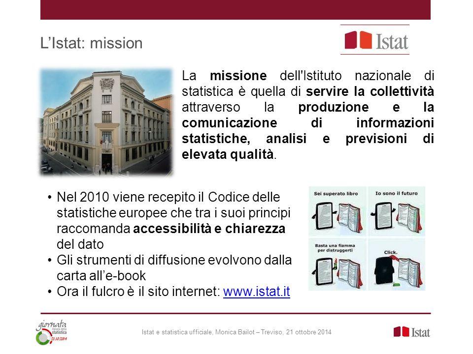 L'Istat: mission Istat e statistica ufficiale, Monica Bailot – Treviso, 21 ottobre 2014 La missione dell'Istituto nazionale di statistica è quella di