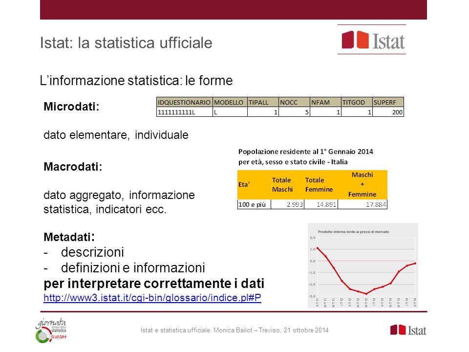 Istat: la statistica ufficiale Istat e statistica ufficiale, Monica Bailot – Treviso, 21 ottobre 2014 L'informazione statistica: le forme Metadati : -