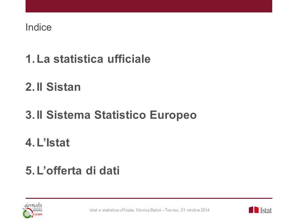 Indice 1.La statistica ufficiale 2.Il Sistan 3.Il Sistema Statistico Europeo 4.L'Istat 5.L'offerta di dati Istat e statistica ufficiale, Monica Bailot