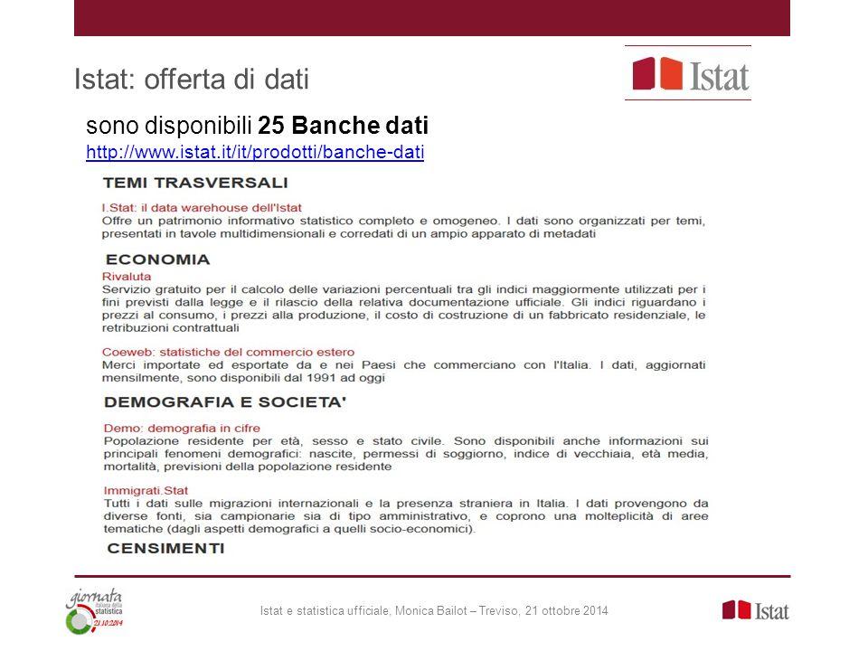 Istat: offerta di dati Istat e statistica ufficiale, Monica Bailot – Treviso, 21 ottobre 2014 sono disponibili 25 Banche dati http://www.istat.it/it/p