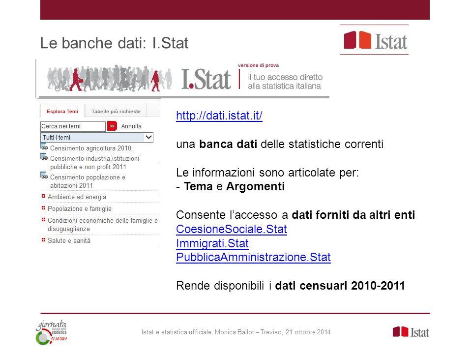Le banche dati: I.Stat Istat e statistica ufficiale, Monica Bailot – Treviso, 21 ottobre 2014 http://dati.istat.it/ una banca dati delle statistiche c