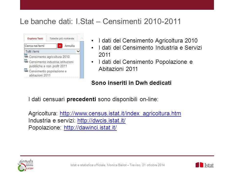 Le banche dati: I.Stat – Censimenti 2010-2011 Istat e statistica ufficiale, Monica Bailot – Treviso, 21 ottobre 2014 I dati del Censimento Agricoltura