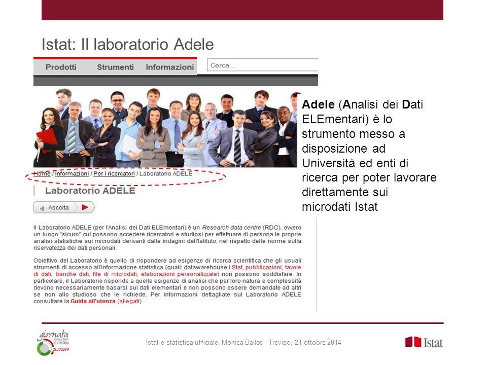 Istat: Il laboratorio Adele Istat e statistica ufficiale, Monica Bailot – Treviso, 21 ottobre 2014 Adele (Analisi dei Dati ELEmentari) è lo strumento