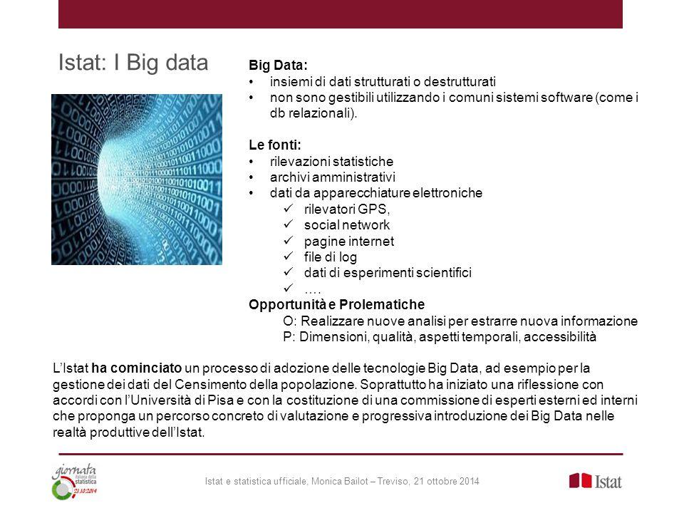 Istat: I Big data Istat e statistica ufficiale, Monica Bailot – Treviso, 21 ottobre 2014 L'Istat ha cominciato un processo di adozione delle tecnologi