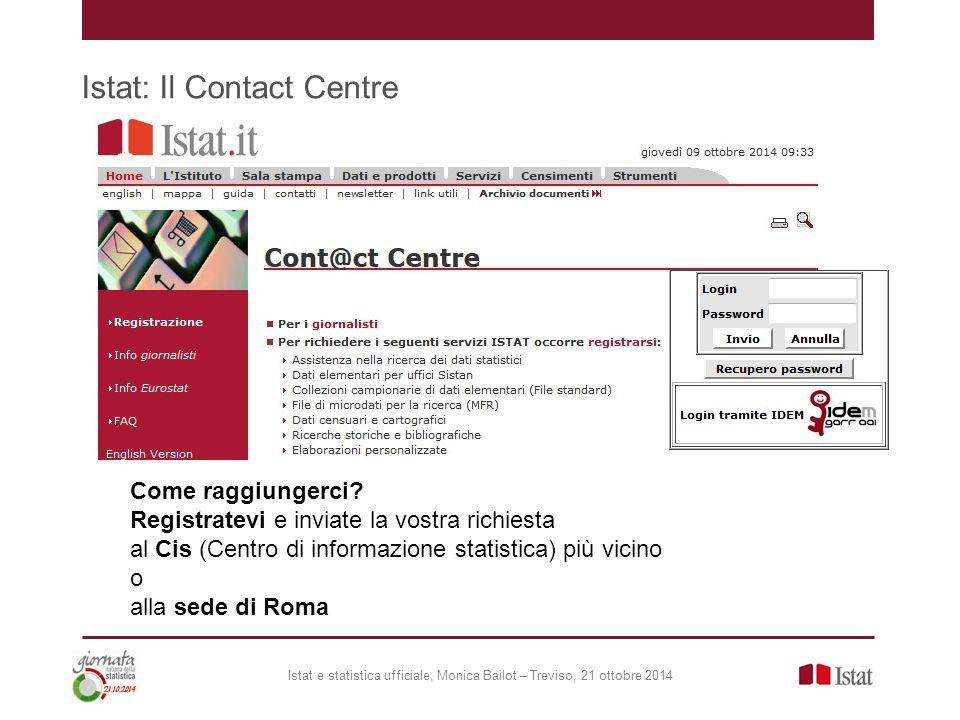 Istat: Il Contact Centre Istat e statistica ufficiale, Monica Bailot – Treviso, 21 ottobre 2014 Come raggiungerci? Registratevi e inviate la vostra ri