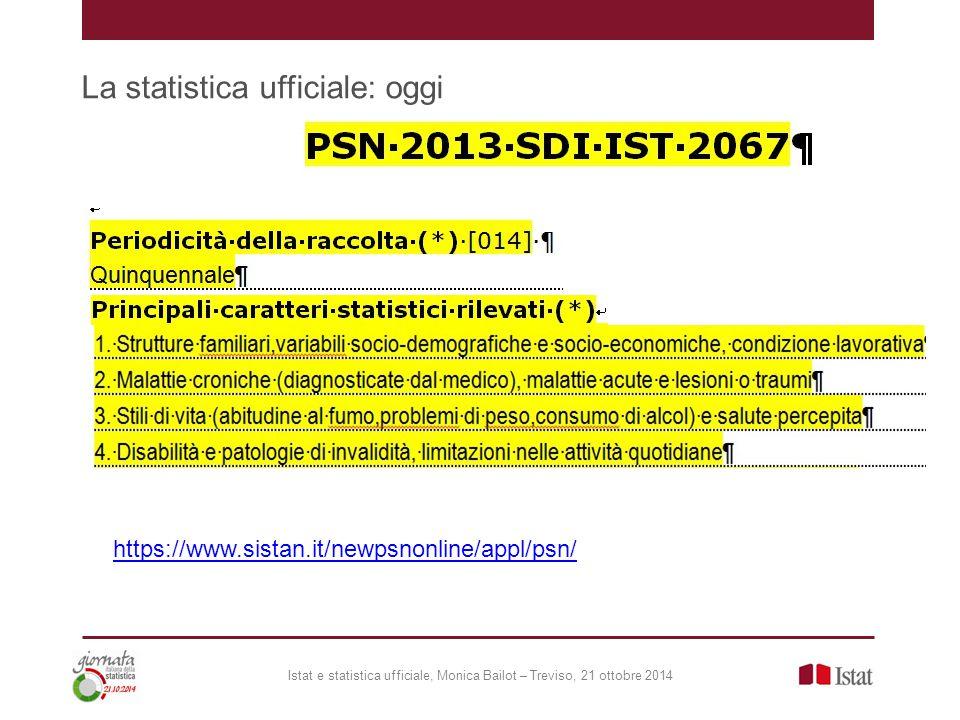 La statistica ufficiale: oggi Istat e statistica ufficiale, Monica Bailot – Treviso, 21 ottobre 2014 https://www.sistan.it/newpsnonline/appl/psn/