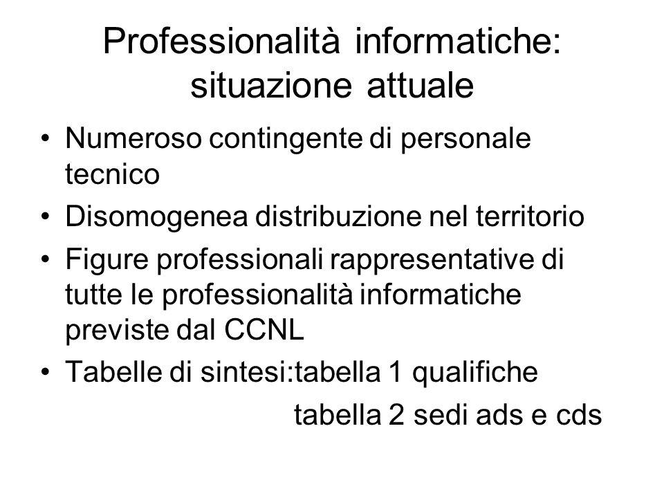 Professionalità informatiche: situazione attuale Numeroso contingente di personale tecnico Disomogenea distribuzione nel territorio Figure professiona