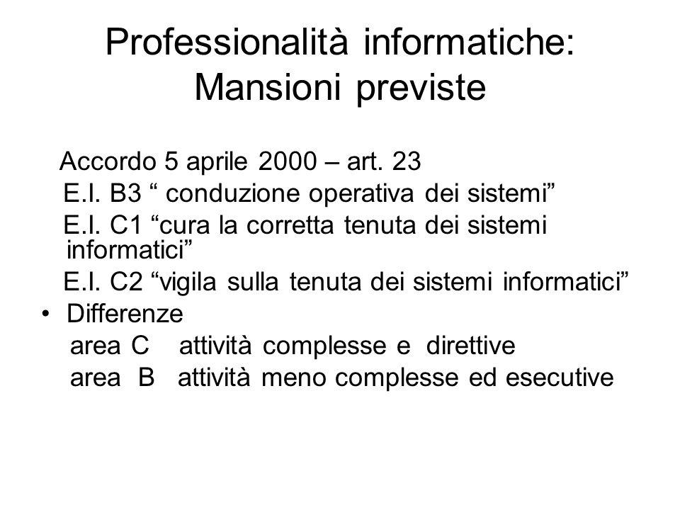 """Professionalità informatiche: Mansioni previste Accordo 5 aprile 2000 – art. 23 E.I. B3 """" conduzione operativa dei sistemi"""" E.I. C1 """"cura la corretta"""