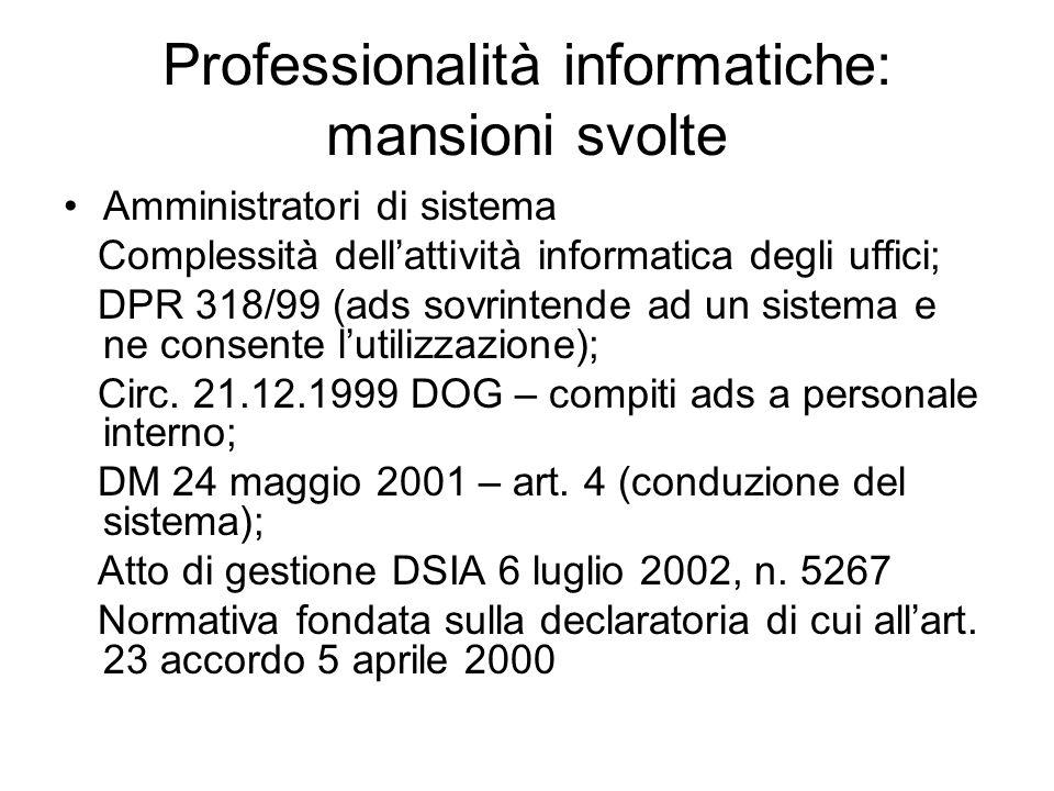 Professionalità informatiche: mansioni svolte Amministratori di sistema Complessità dell'attività informatica degli uffici; DPR 318/99 (ads sovrintende ad un sistema e ne consente l'utilizzazione); Circ.