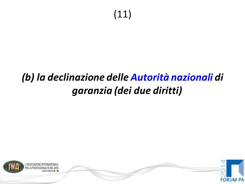 (11) (b) la declinazione delle Autorità nazionali di garanzia (dei due diritti)