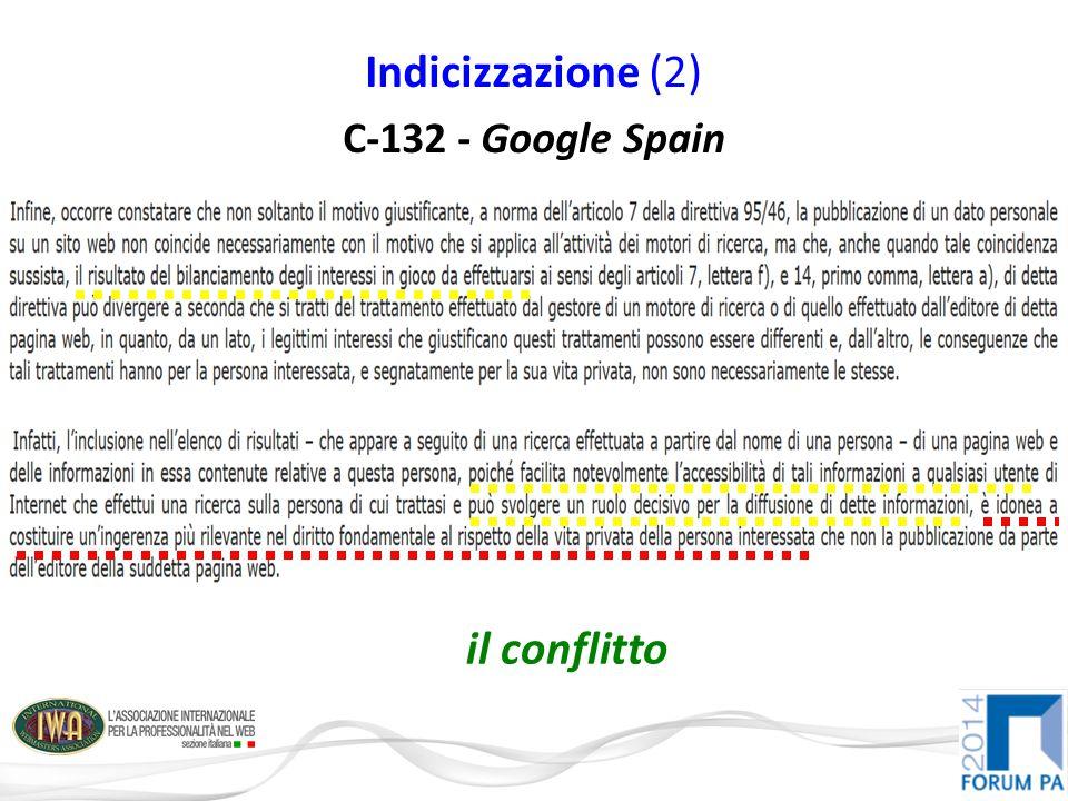 Indicizzazione (2) C-132 - Google Spain il conflitto