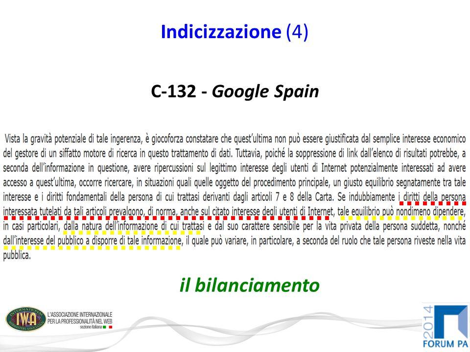 Indicizzazione (4) C-132 - Google Spain il bilanciamento
