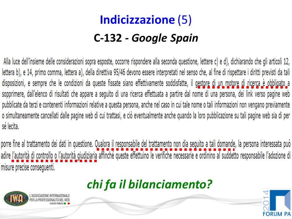 Indicizzazione (5) C-132 - Google Spain chi fa il bilanciamento