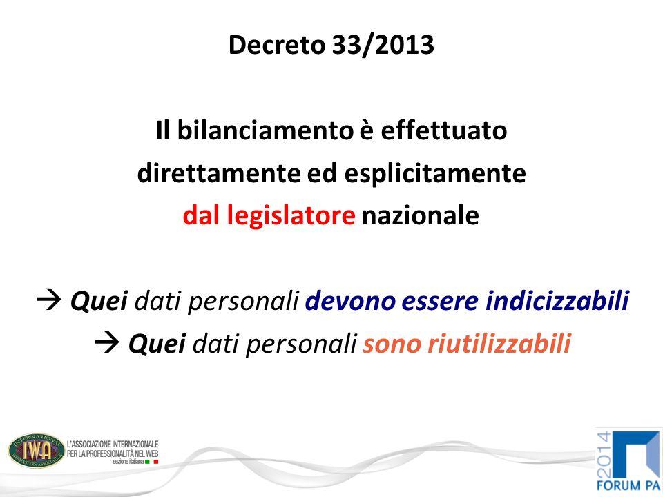 Decreto 33/2013 Il bilanciamento è effettuato direttamente ed esplicitamente dal legislatore nazionale  Quei dati personali devono essere indicizzabili  Quei dati personali sono riutilizzabili