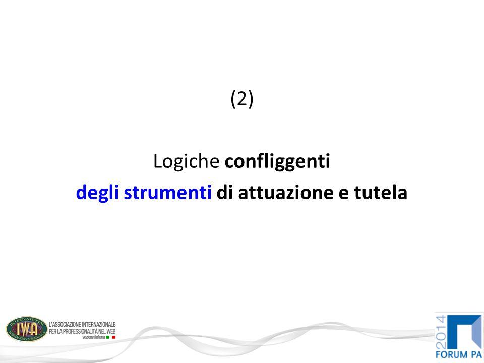 (2) Logiche confliggenti degli strumenti di attuazione e tutela