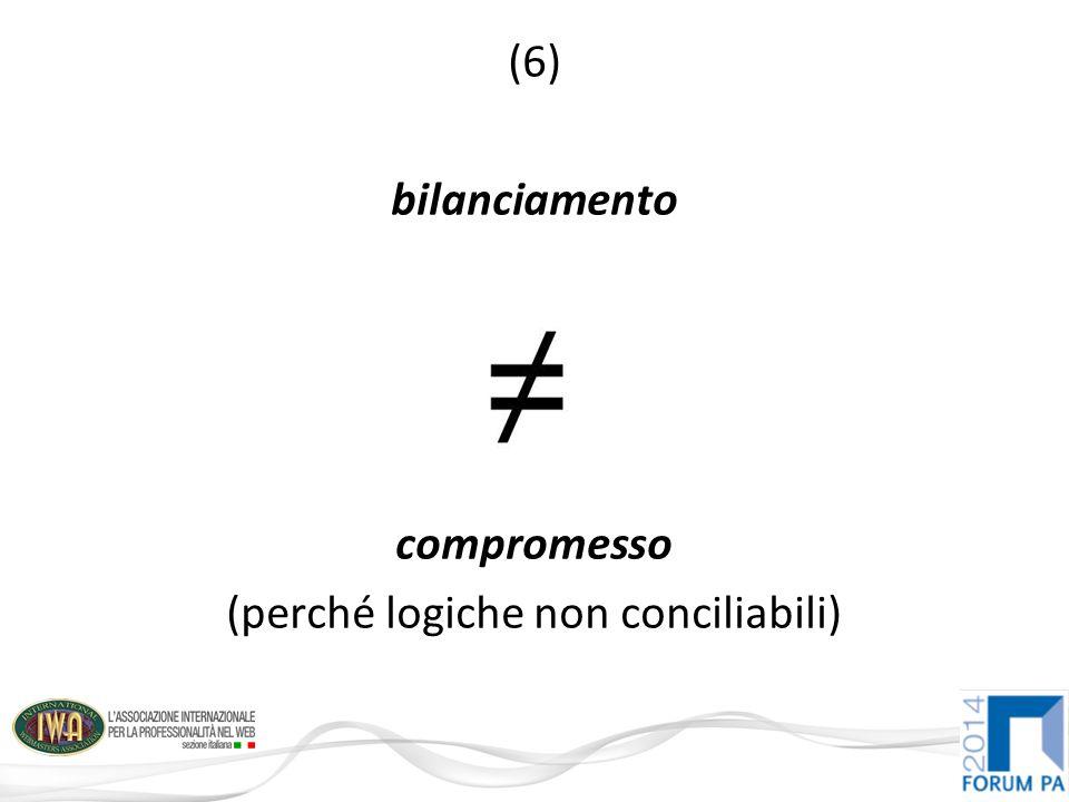 (6) bilanciamento compromesso (perché logiche non conciliabili)