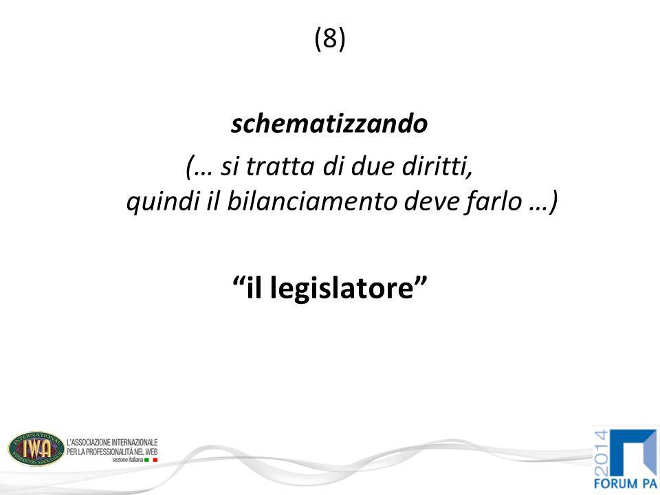 (8) schematizzando (… si tratta di due diritti, quindi il bilanciamento deve farlo …) il legislatore