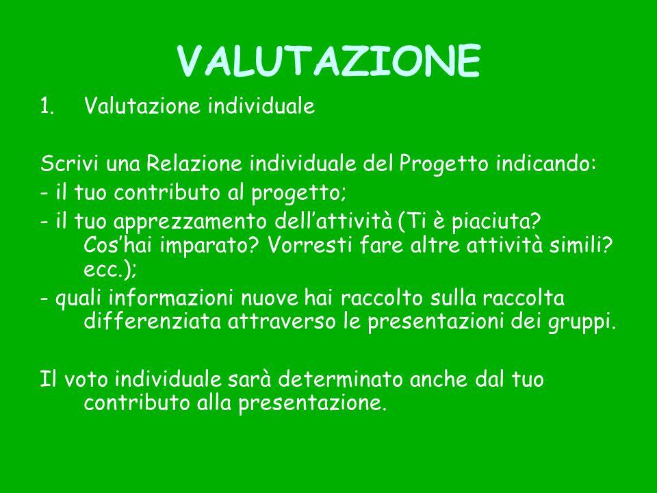 VALUTAZIONE 1.Valutazione individuale Scrivi una Relazione individuale del Progetto indicando: - il tuo contributo al progetto; - il tuo apprezzamento