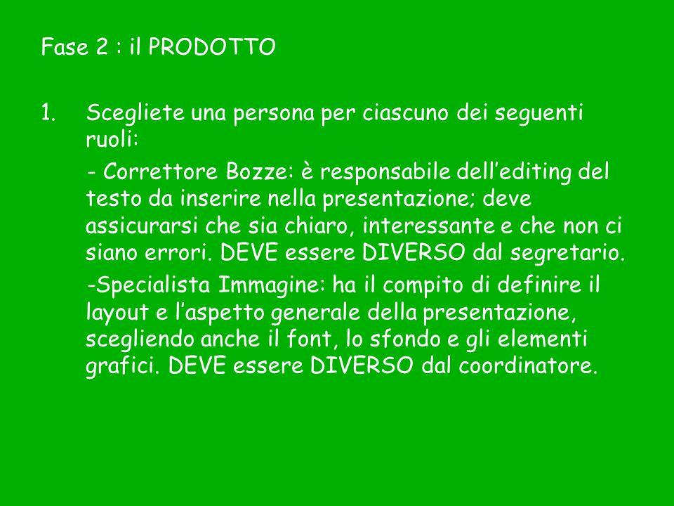 Fase 2 : il PRODOTTO 1.Scegliete una persona per ciascuno dei seguenti ruoli: - Correttore Bozze: è responsabile dell'editing del testo da inserire ne