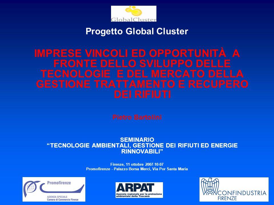 Progetto Global Cluster IMPRESE VINCOLI ED OPPORTUNITÀ A FRONTE DELLO SVILUPPO DELLE TECNOLOGIE E DEL MERCATO DELLA GESTIONE TRATTAMENTO E RECUPERO DEI RIFIUTI Pietro Bartolini SEMINARIO TECNOLOGIE AMBIENTALI, GESTIONE DEI RIFIUTI ED ENERGIE RINNOVABILI Firenze, 11 ottobre 2007-10-07 Promofirenze - Palazzo Borsa Merci, Via Por Santa Maria