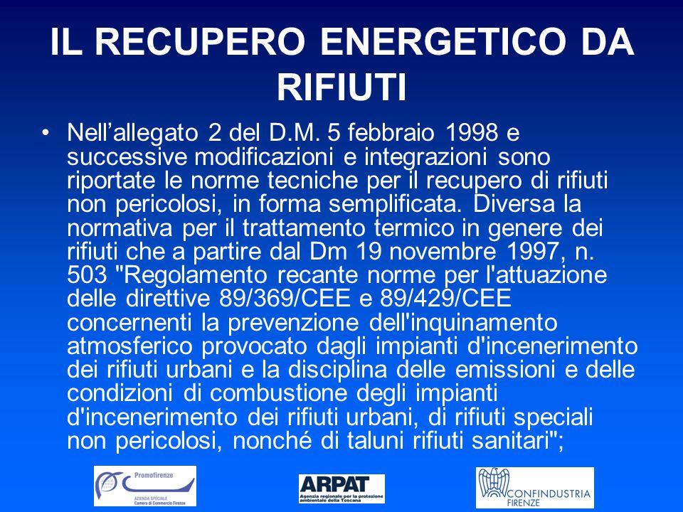 IL RECUPERO ENERGETICO DA RIFIUTI Nell'allegato 2 del D.M.