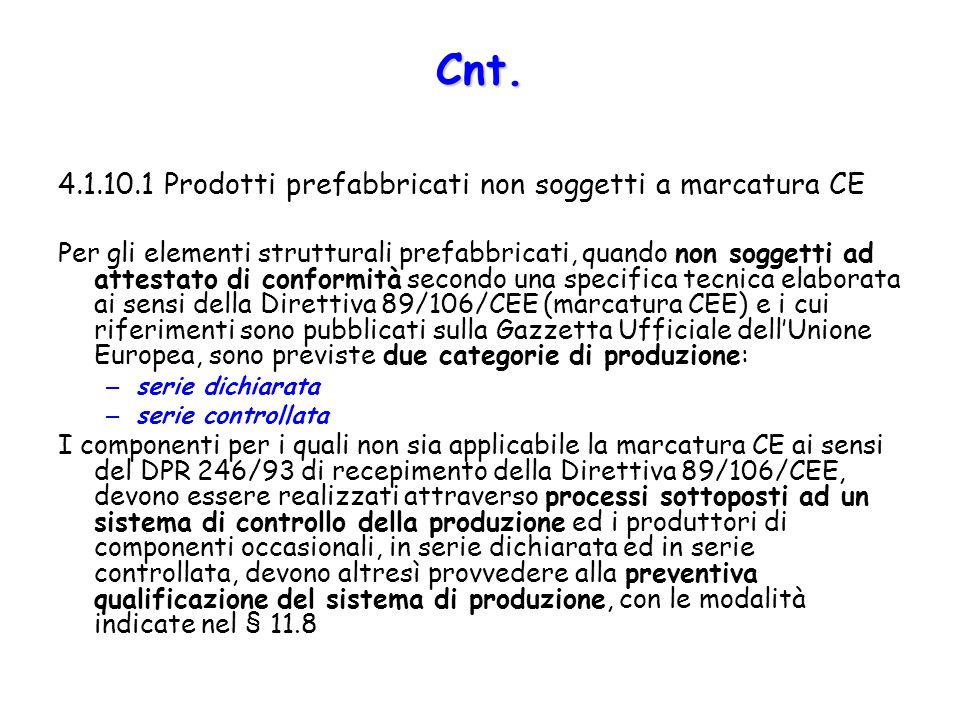 4.1.10.1 Prodotti prefabbricati non soggetti a marcatura CE Per gli elementi strutturali prefabbricati, quando non soggetti ad attestato di conformità