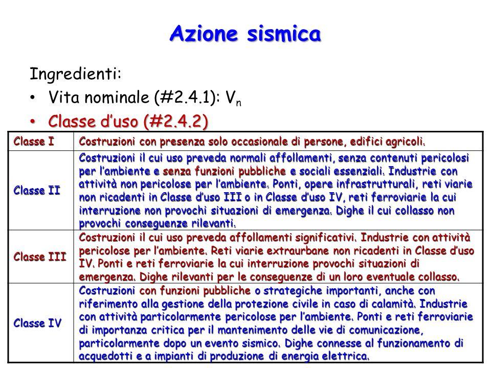 Azione sismica Ingredienti: Vita nominale (#2.4.1): V n Classe d'uso (#2.4.2) Classe d'uso (#2.4.2) Classe I Costruzioni con presenza solo occasionale