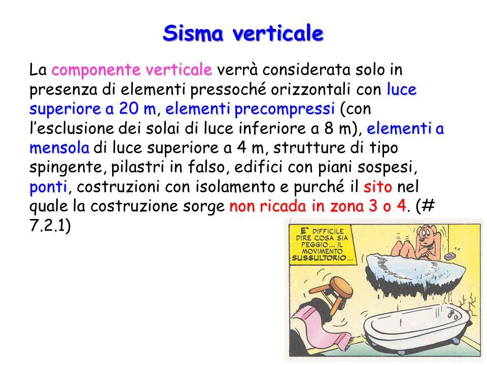 Sisma verticale componente verticale luce superiore a 20 melementi precompressi elementi a mensola pontisito non ricada in zona 3 o 4 La componente ve
