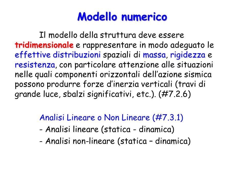 Modello numerico tridimensionale effettive distribuzionimassarigidezza resistenza Il modello della struttura deve essere tridimensionale e rappresenta
