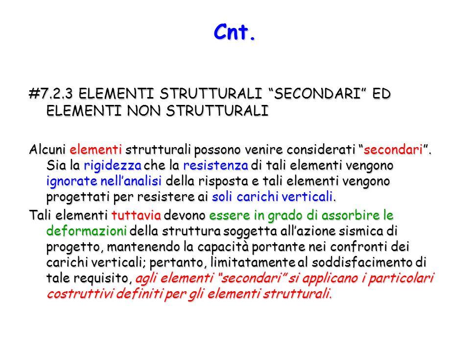 """#7.2.3 ELEMENTI STRUTTURALI """"SECONDARI"""" ED ELEMENTI NON STRUTTURALI Alcuni elementi strutturali possono venire considerati """"secondari"""". Sia la rigidez"""