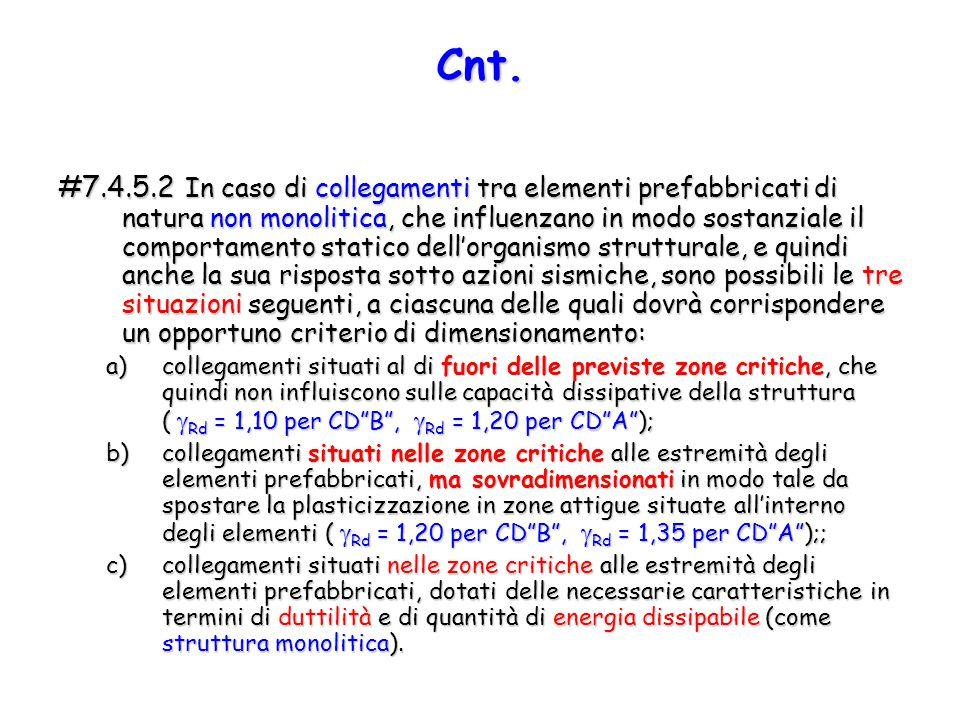 #7.4.5.2 In caso di collegamenti tra elementi prefabbricati di natura non monolitica, che influenzano in modo sostanziale il comportamento statico del