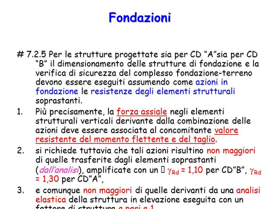 """# 7.2.5 Per le strutture progettate sia per CD """"A""""sia per CD """"B"""" il dimensionamento delle strutture di fondazione e la verifica di sicurezza del compl"""