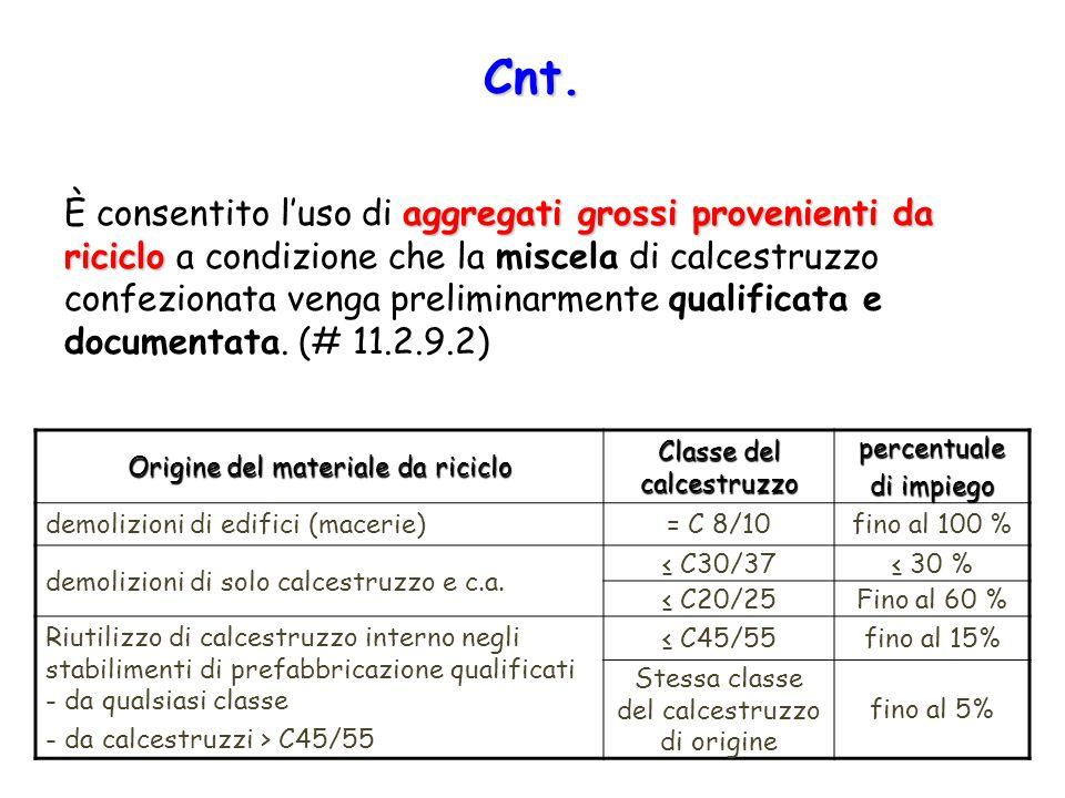 Cnt. aggregati grossi provenienti da riciclo È consentito l'uso di aggregati grossi provenienti da riciclo a condizione che la miscela di calcestruzzo