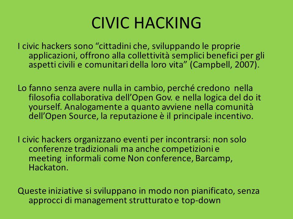 CIVIC HACKING I civic hackers sono cittadini che, sviluppando le proprie applicazioni, offrono alla collettività semplici benefici per gli aspetti civili e comunitari della loro vita (Campbell, 2007).